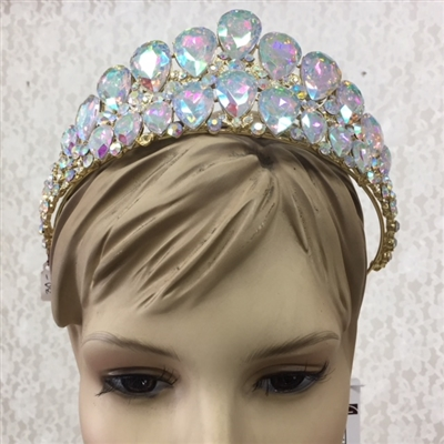CWN-104-SILVER-AB. WHOLESALE CROWN, AB CRYSTALS ON SILVER METAL