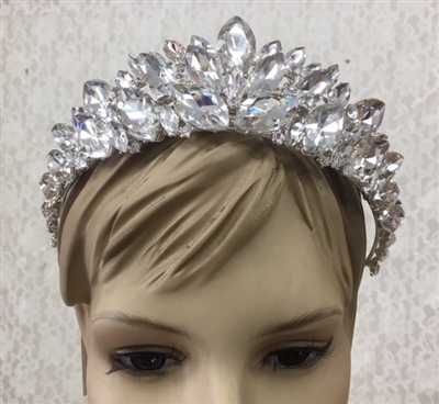 CWN-104-SILVER-CRYSTAL. WHOLESALE CROWN, CLEAR CRYSTALS ON SILVER METAL