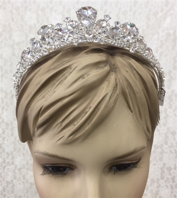 CWN-105-SILVER-CRYSTAL. WHOLESALE CROWN, CLEAR CRYSTALS ON SILVER METAL