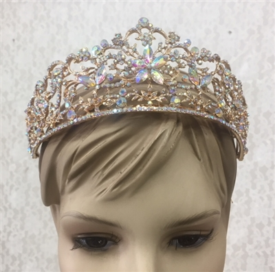 CWN-106-GOLD-AB. WHOLESALE CROWN, AB CRYSTALS ON GOLD METAL