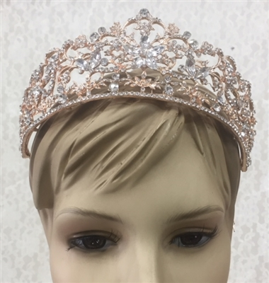 CWN-106-GOLD-CRYSTAL. WHOLESALE CROWN, CLEAR CRYSTALS ON GOLD METAL