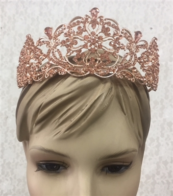 CWN-107-BRONZE-CRYSTAL. WHOLESALE CROWN, CLEAR CRYSTALS ON BRONZE METAL