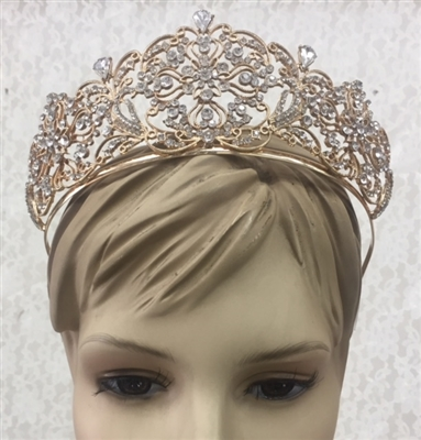 CWN-107-GOLD-CRYSTAL. WHOLESALE CROWN, CLEAR CRYSTALS ON GOLD METAL