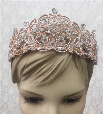 CWN-107-ROSEGOLD-CRYSTAL. WHOLESALE CROWN, CLEAR CRYSTALS ON ROSE-GOLD METAL