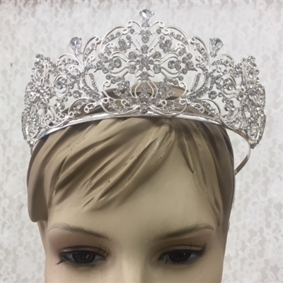 CWN-107-SILVER-CRYSTAL. WHOLESALE CROWN, CLEAR CRYSTALS ON SILVER METAL
