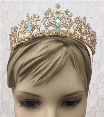 CWN-108-GOLD-AB. WHOLESALE CROWN, AB CRYSTALS ON GOLD METAL