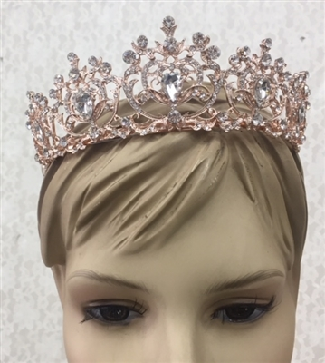 CWN-108-GOLD-CRYSTAL. WHOLESALE CROWN, CLEAR CRYSTALS ON GOLD METAL