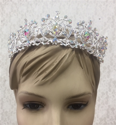 CWN-108-SILVER-AB. WHOLESALE CROWN, AB CRYSTALS ON SILVER METAL