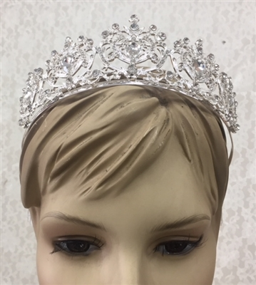 CWN-108-SILVER-CRYSTAL. WHOLESALE CROWN, CLEAR CRYSTALS ON SILVER METAL