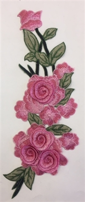 FLR-APL-001-PINK. Sew-On Floral Embroidery Applique Patch