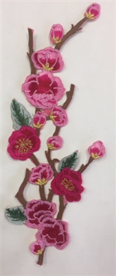 FLR-APL-003-PINK. Hot-Fix, Iron-On Floral (Rose) Embroidery Applique Patch