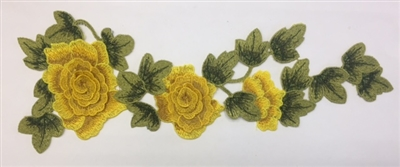 FLR-APL-004-YELLOW. Sew-On Floral (Yellow Rose) Embroidery Applique Patch