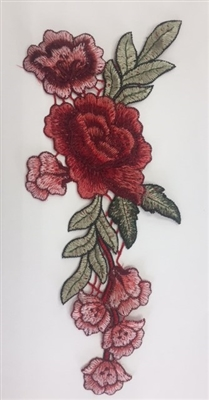 FLR-APL-007. Sew-On Rose Flower (Floral) Embroidery Applique Patch.