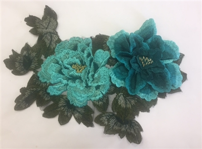 FLR-APL-019. Sew-On Floral Embroidery Applique Patch.  Fabulous Live Colors with Raised 3-Dimensional Leaves - 13 x 9 Inches