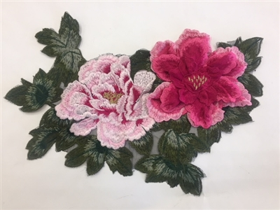 FLR-APL-019-PINK. Pink Sew On Floral Embroidery Applique Patch. Fabulous Live Colors with Raised 3-Dimensional Leaves - 13 x 9 Inches