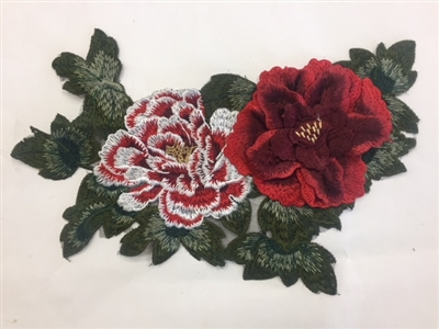 FLR-APL-019-RED. Red Sew On Floral Embroidery Applique Patch. Fabulous Live Colors with Raised 3-Dimensional Leaves - 13 x 9 Inches