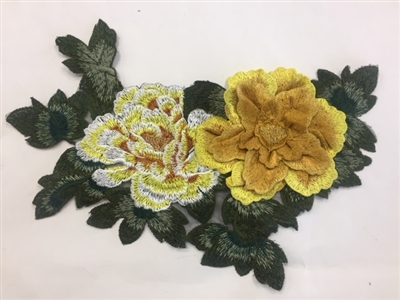 FLR-APL-019-YELLOW. Yellow Sew On Floral Embroidery Applique Patch. Fabulous Live Colors with Raised 3-Dimensional Leaves - 13 x 9 Inches