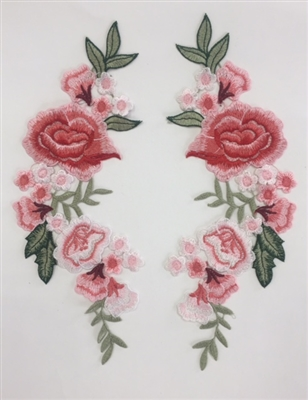 FLR-APL-024-PAIR. Sew-On Rose Flower (Floral) Embroidery Applique Patch. A Pair Set.