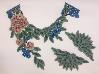 FLR-APL--025. Floral Embroidery Patch. 3-PC Set.