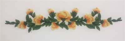 FLR-APL-027-ORANGE. Sew-On Floral Applique - 22 X 4 Inches