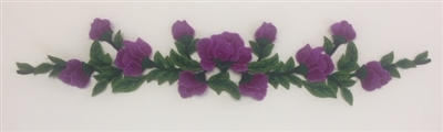 FLR-APL-027-PURPLE. Sew-On Floral Applique - 22 X 4 Inches