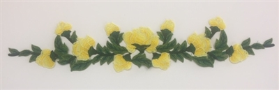 FLR-APL-027-YELLOW. Sew-On Floral Applique - 22 X 4 Inches
