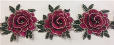 FLR-TRM-101-FUCHSIA. Sew-On Floral Embroidery Trim - Exquisite Live Colors with Raised 3-Dimensional Flowers - Sold By The Yard. 3 Inch Wide