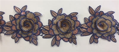 FLR-TRM-101-GREY. Sew-On Floral Embroidery Trim - Exquisite Live Colors with Raised 3-Dimensional Flowers - Sold By The Yard. 3 Inch Wide