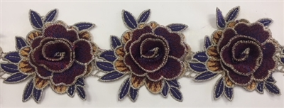 FLR-TRM-101-PURPLE. Sew-On Floral Embroidery Trim - Exquisite Live Colors with Raised 3-Dimensional Flowers - Sold By The Yard. 3 Inch Wide