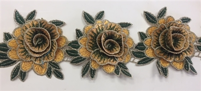 FLR-TRM-101-YELLOW. Sew-On Floral Embroidery Trim - Exquisite Live Colors with Raised 3-Dimensional Flowers - Sold By The Yard. 3 Inch Wide