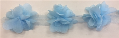 FLR-TRM-102-BABYBLUE. Flower Trim - Exquisite Live Colors with Raised 3-Dimensional Flowers - Price Per Yard. 2 Inch Wide