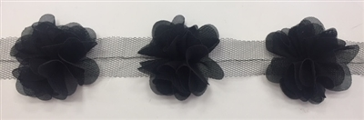 FLR-TRM-102-BLACK. Flower Trim - Exquisite Live Colors with Raised 3-Dimensional Flowers - Price Per Yard. 2 Inch Wide