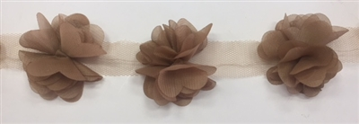 FLR-TRM-102-BROWN. Flower Trim - Exquisite Live Colors with Raised 3-Dimensional Flowers - Price Per Yard. 2 Inch Wide