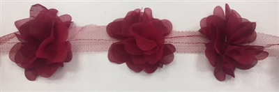 FLR-TRM-102-BURGUNDY. Flower Trim - Exquisite Live Colors with Raised 3-Dimensional Flowers - Price Per Yard. 2 Inch Wide