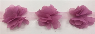 FLR-TRM-102-DUSTYROSE. Flower Trim - Exquisite Live Colors with Raised 3-Dimensional Flowers - Price Per Yard. 2 Inch Wide