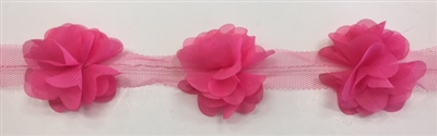 FLR-TRM-102-FUCHSIA. Flower Trim - Exquisite Live Colors with Raised 3-Dimensional Flowers - Price Per Yard. 2 Inch Wide