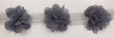 FLR-TRM-102-GREY. Flower Trim - Exquisite Live Colors with Raised 3-Dimensional Flowers - Price Per Yard. 2 Inch Wide