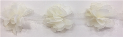 FLR-TRM-102-IVORY. Flower Trim - Exquisite Live Colors with Raised 3-Dimensional Flowers - Price Per Yard. 2 Inch Wide