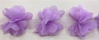 FLR-TRM-102-LILAC. Flower Trim - Exquisite Live Colors with Raised 3-Dimensional Flowers - Price Per Yard. 2 Inch Wide