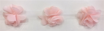FLR-TRM-102-PEACH. Flower Trim - Exquisite Live Colors with Raised 3-Dimensional Flowers - Price Per Yard. 2 Inch Wide