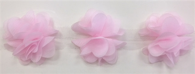FLR-TRM-102-PINK. Flower Trim - Exquisite Live Colors with Raised 3-Dimensional Flowers - Price Per Yard. 2 Inch Wide
