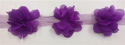 FLR-TRM-102-PURPLE. Flower Trim - Exquisite Live Colors with Raised 3-Dimensional Flowers - Price Per Yard. 2 Inch Wide