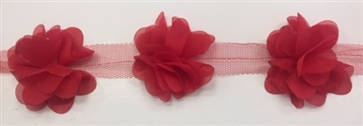 FLR-TRM-102-RED. Flower Trim - Exquisite Live Colors with Raised 3-Dimensional Flowers - Price Per Yard. 2 Inch Wide