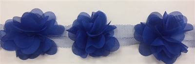 FLR-TRM-102-ROYALBLUE. Flower Trim - Exquisite Live Colors with Raised 3-Dimensional Flowers - Price Per Yard. 2 Inch Wide