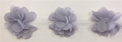 FLR-TRM-102-SILVER. Flower Trim - Exquisite Live Colors with Raised 3-Dimensional Flowers - Price Per Yard. 2 Inch Wide