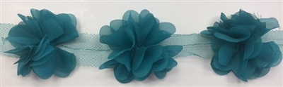 FLR-TRM-102-TEAL. Flower Trim - Exquisite Live Colors with Raised 3-Dimensional Flowers - Price Per Yard. 2 Inch Wide