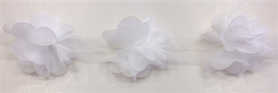 FLR-TRM-102-WHITE. Flower Trim - Exquisite Live Colors with Raised 3-Dimensional Flowers - Price Per Yard. 2 Inch Wide