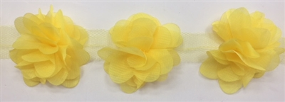 FLR-TRM-102-YELLOW. Flower Trim - Exquisite Live Colors with Raised 3-Dimensional Flowers - Price Per Yard. 2 Inch Wide