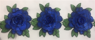 FLR-TRM-103-ROYALBLUE. Flower Trim - Exquisite Live Colors with Raised 3-Dimensional Flowers - ROYAL BLUE - Price Per Yard: $7. 4.5 Inch Wide