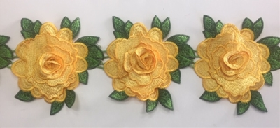 FLR-TRM-103-YELLOW. Flower Trim - Exquisite Live Colors with Raised 3-Dimensional Flowers - Price Per Yard:  $7. 4.5 Inch Wide